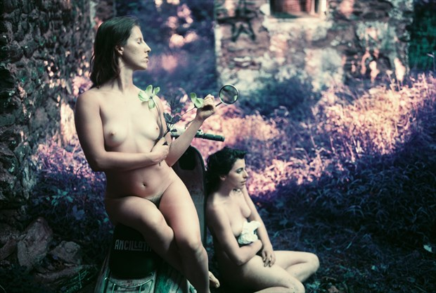 Vex, Katlyn, and my Lambretta, with flowers Artistic Nude Photo by Photographer TheFabNears