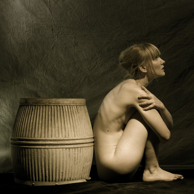 Victorian Wash Tub and Sitting Nude with reference to E J Bellocq Artistic Nude Photo by Photographer Mark Bigelow