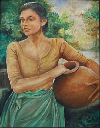 Village Lady Painting or Drawing Artwork by Artist Nuwan Thenuwara