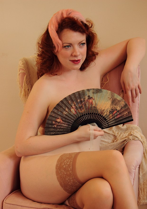 Vintage Girl with Fan Artistic Nude Photo by Photographer Fred Scholpp Photo