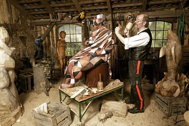 WOOD SCULPTOR IV Fantasy Artwork by Artist Bodypaint D%C3%BCsterwald
