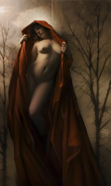 Little Red Ridding hood waits for the wolf. She is sensual and serene with soft pale flesh exposed from under folds of scarlet red. She looks at you dreamily through alluring eyes that are barely open.