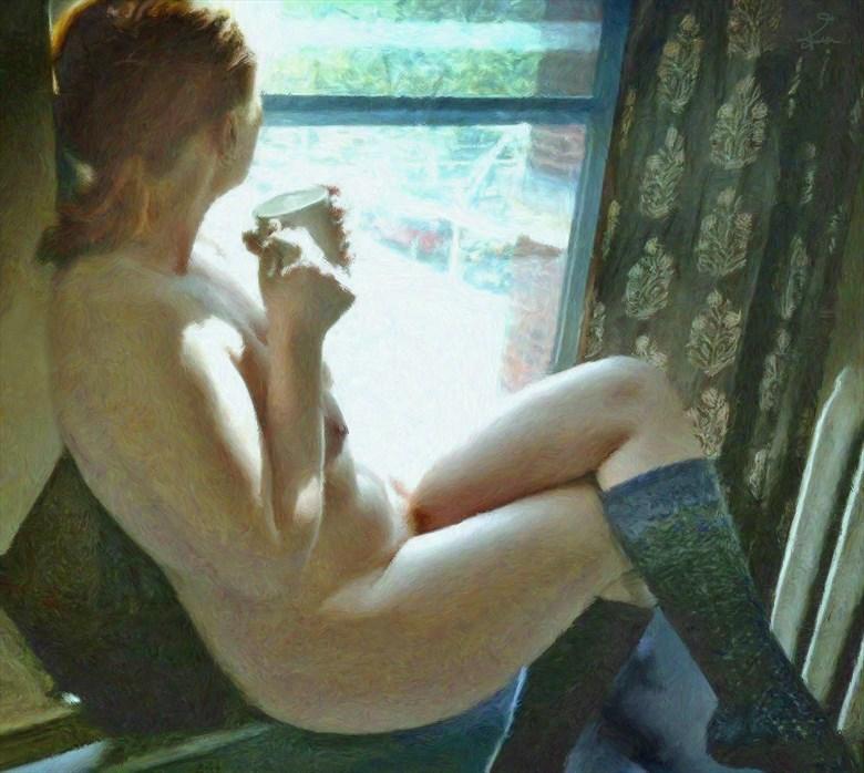 Watcher At the Window Artistic Nude Artwork by Artist Van Evan Fuller
