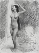 Waterfall Venus Stretch study %23442 Artistic Nude Artwork by Artist Matthew Joseph Peak