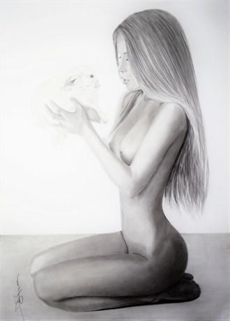 White rabbit Artistic Nude Artwork by Artist DML ART