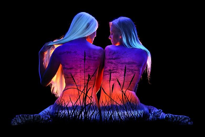 Wild Grass Body Painting Photo by Photographer Under Black Light