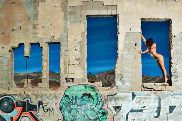 Windows within the graffiti Artistic Nude Artwork by Model Ceara Blu