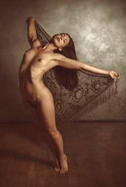Winged Victory with Antique Shawl Artistic Nude Photo by Photographer Risen Phoenix