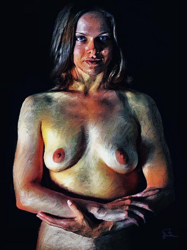 a confident woman artistic nude artwork by artist van evan fuller