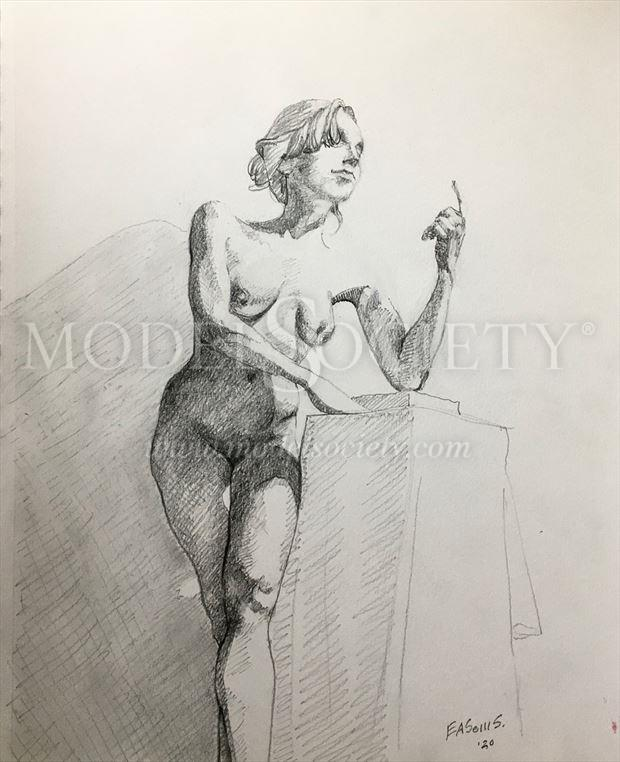 a neoclassical approach with a lil baroque artistic nude artwork by model ellecata
