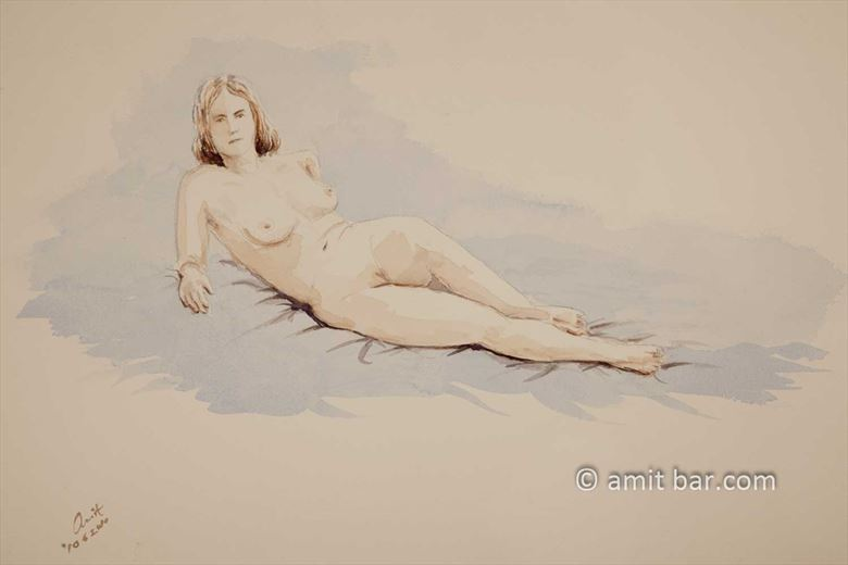a nude model leaning on her elbows artistic nude artwork by photographer bodypainter