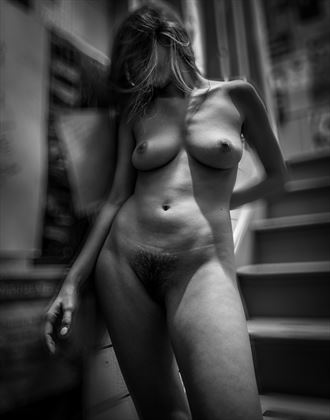 addison by the stairs artistic nude photo by photographer dave earl