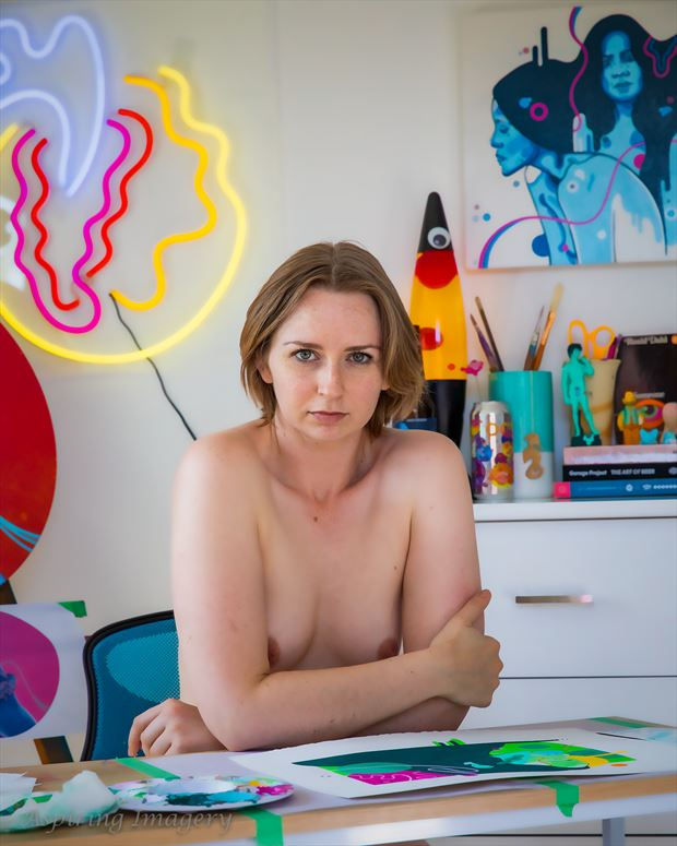 an artist in her studio artistic nude photo by photographer aspiring imagery