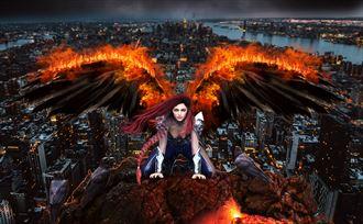 angel of disaster fantasy artwork by artist karinclaessonart
