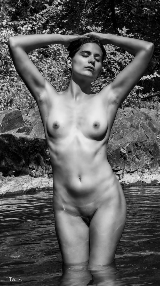 aphrodite in shallow pool artistic nude photo by artist artfitnessmodel