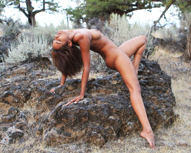 arched nude on lichen rocks artistic nude photo by photographer shootist