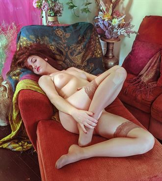 art nouveau style on my sofa artistic nude photo by model christelle