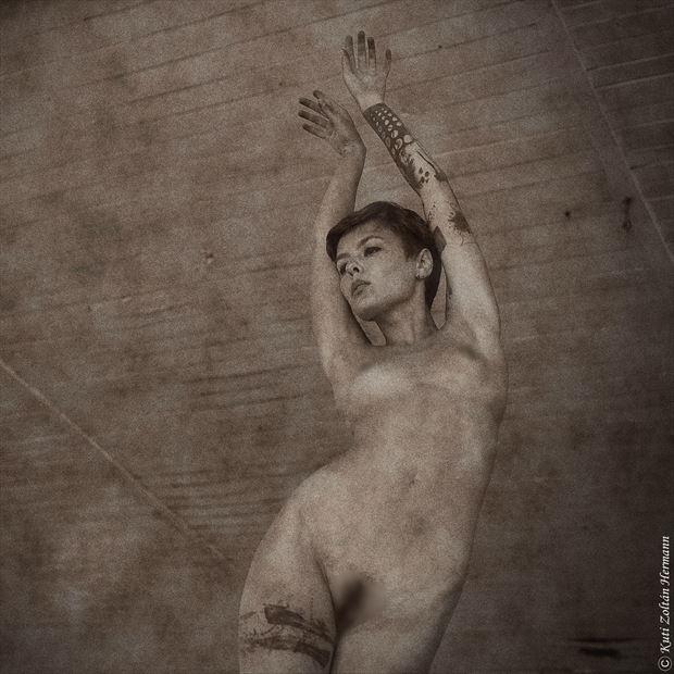 artistic nude vintage style artwork by artist kuti zolt%C3%A1n hermann