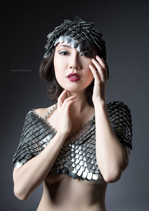 asian model in scalemail fetish photo by photographer erik bolding