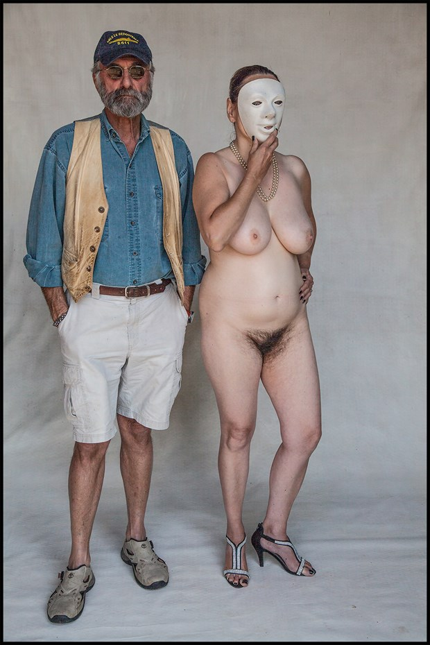 auto portrait with masked model Artistic Nude Photo by Photographer MHMSchreiber.photo