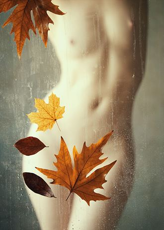 autumn leaves artistic nude photo by model ivory flame
