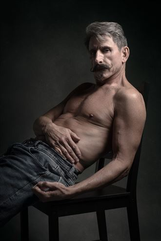 bare torso and jeans chiaroscuro photo by photographer david clifton strawn