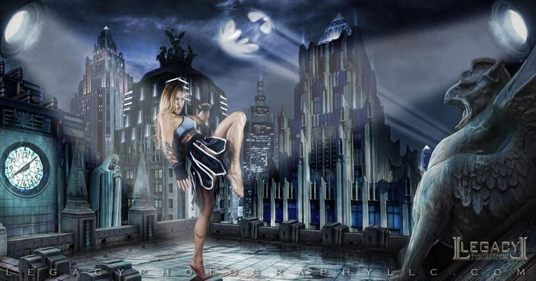 batgirl in the heart of gotham cosplay artwork by photographer legacyphotographyllc