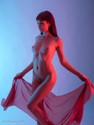 bathed in a splash of red ligh Artistic Nude Photo by Photographer DEZAU
