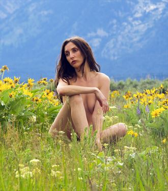 beautiful lady in the flowers artistic nude photo by photographer eric lowenberg