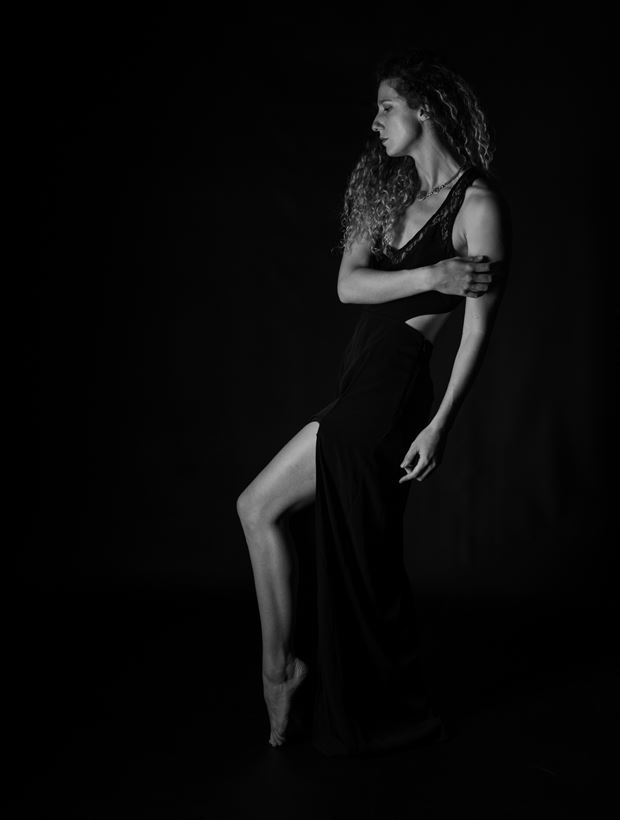 black dress slit studio lighting artwork by photographer gsphotoguy