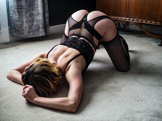 black fishnets lingerie photo by model cali layne