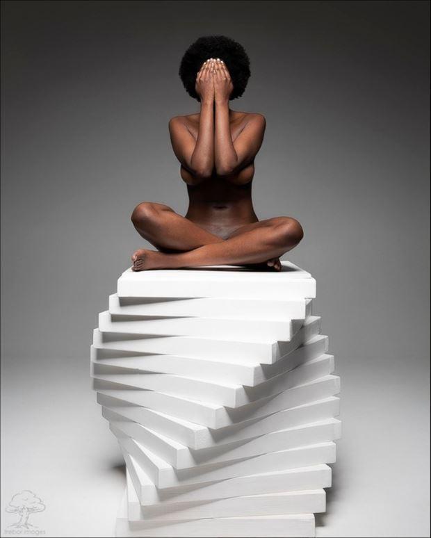 black flower artistic nude photo by model faith vivien babirye