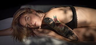 black lingerie 3 tattoos photo by model cherish a travnick