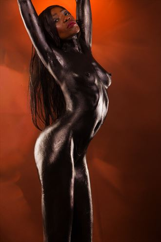 black nude girl covered in black paint artistic nude photo by photographer fred