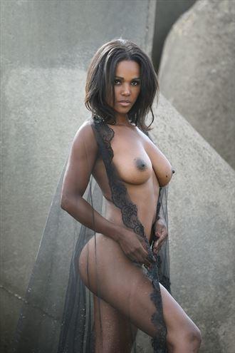 black veil artistic nude photo by model ana patricia