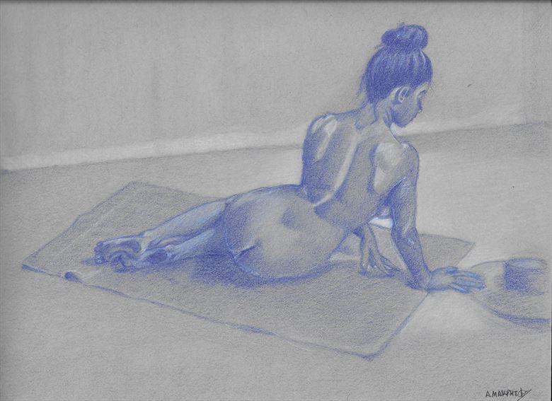 blue dreamer artistic nude artwork by artist alexandros makris