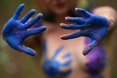 blue handprints artistic nude photo by model cali layne