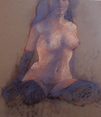 blue in stockings artistic nude artwork by model blueriverdream