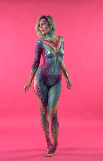 body paint on pink body painting artwork by photographer russb