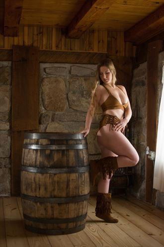 boho babe on a barrel vintage style photo by model andrea ivey