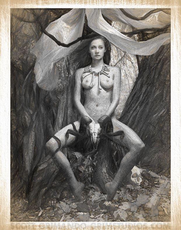 bone witch sketch artistic nude artwork by artist scott grimando
