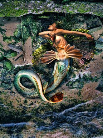 broken mermaid surreal photo by artist scott grimando