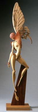 butterfly winged figure artistic nude artwork by artist john morris sculptor