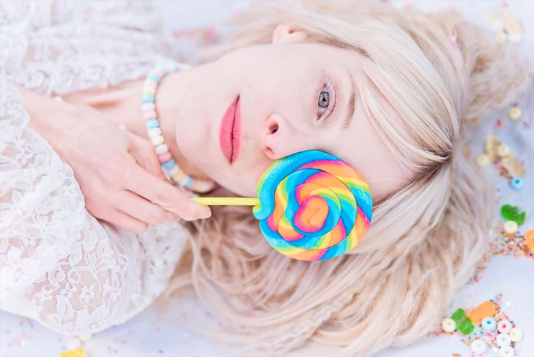 candy land surreal photo by model vivien