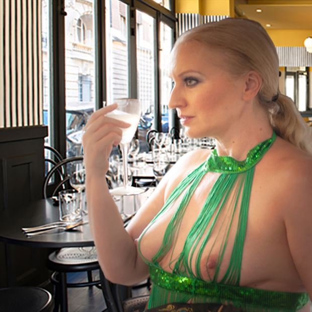 cassie drinking at a paris cafe lingerie photo by photographer erichamburg