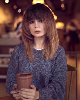 coffee shop portrait experimental photo by model kitty dawson