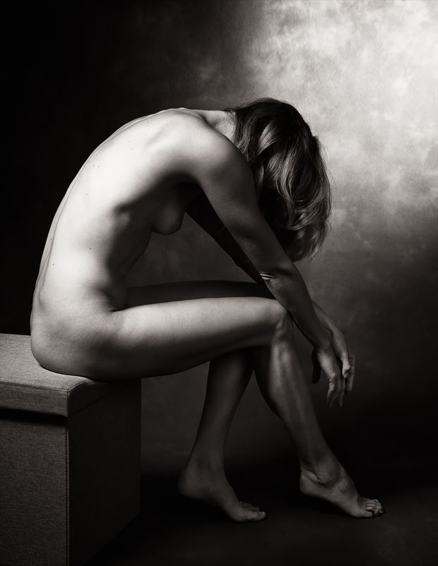 collasped artistic nude photo by model alexandra queen