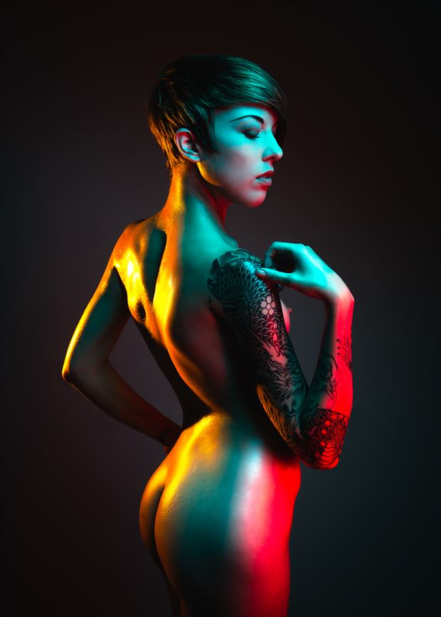 color gel artistic nude photo by model mannequin madi