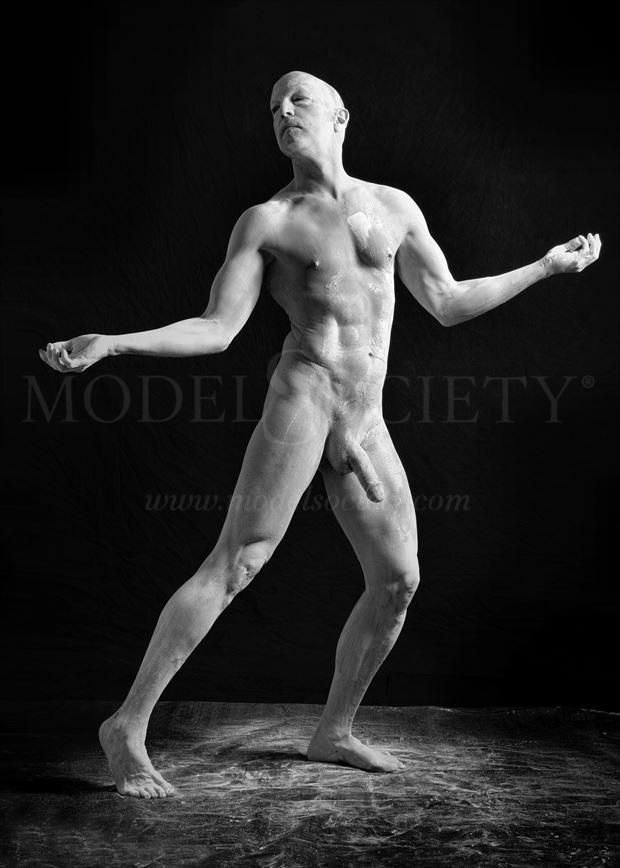 completely plastered artistic nude photo by model avid light