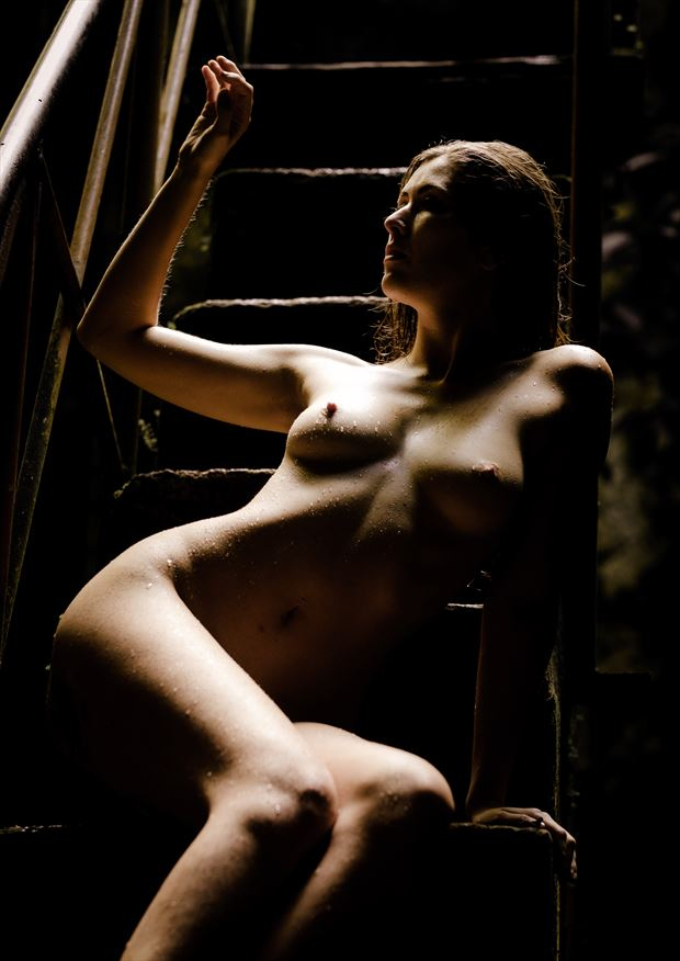 contrasty shot of sienna on the stairs artistic nude photo by photographer colinwardphotography